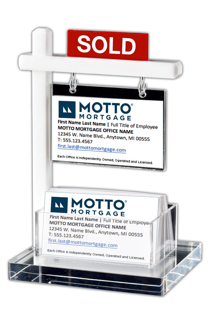 Mini Real Estate Sign & Business Card Holder (White)